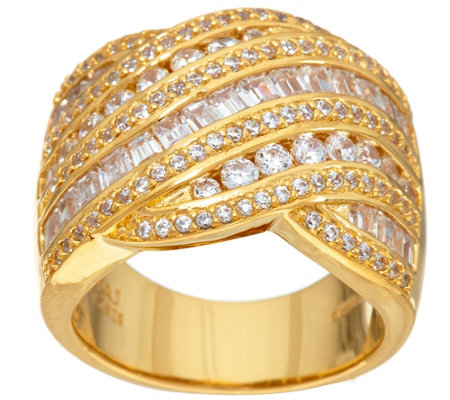 Diamonique 4.35 cttw Multi Stone Band Ring, Ster or 14K Clad