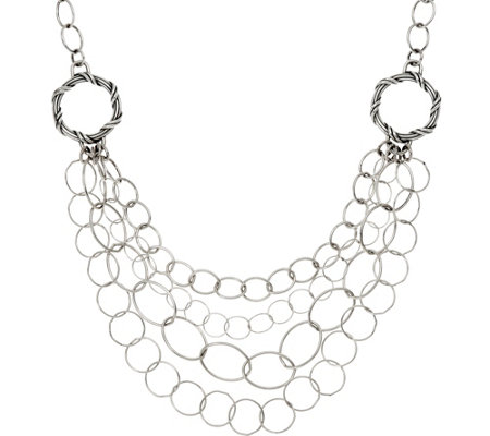 Peter Thomas Roth Sterling Signature Mixed Link Bib Necklace