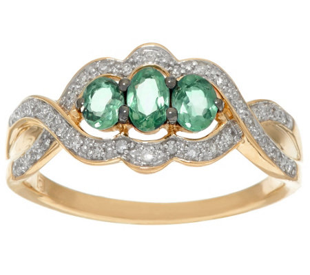 """As Is"" Alexandrite & Diamond 3-Stone Design Ring,14K Gold 0.50 cttw"