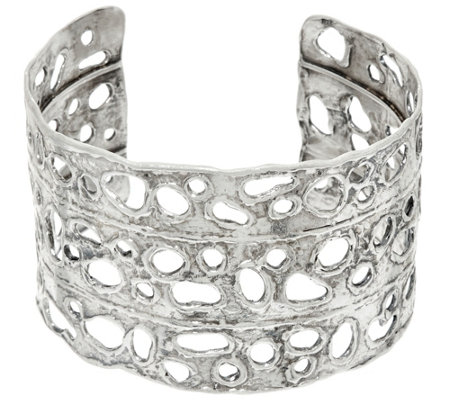 Sterling Silver Open Work Bold Cuff by Or Paz