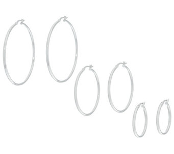 Sterling Set of Three Round Polished Hoop Earrings - J330482