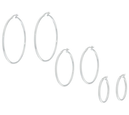 Sterling Set of Three Round Polished Hoop Earrings