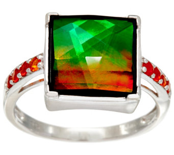 Ammolite Triplet and Fire Opal Sterling Silver Ring, 0.10 cttw - J330882