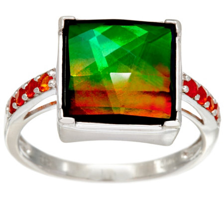 Ammolite Triplet and Fire Opal Sterling Silver Ring, 0.10 cttw