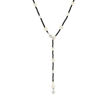 Judith Ripka Sterling Silver Black Spinel & Cultured Pearl Y Necklace