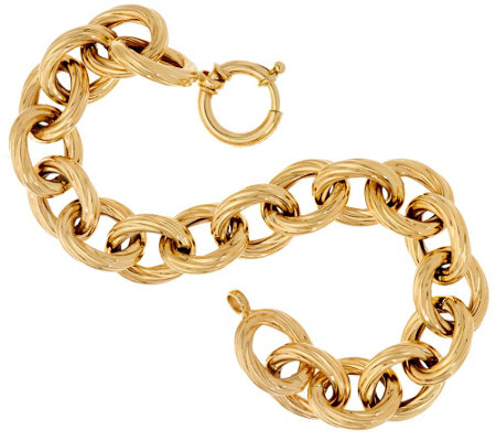 """As Is"" 14K 8"" Bold Textured Rolo Link Bracelet, 16.4g"