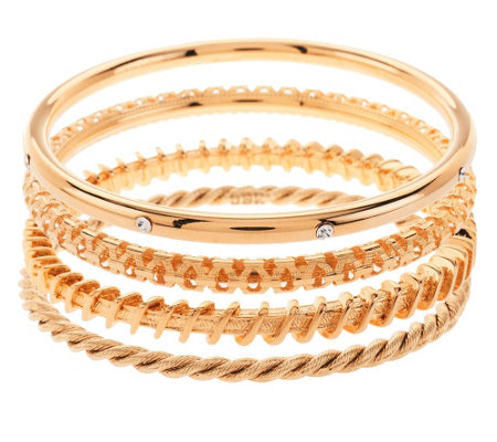 """As Is"" Jacqueline Kennedy Set of 4 Goldtone Bangle Braelets"