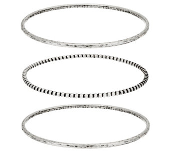 Sterling Silver Set of 3 Bangles by Or Paz 24.0g - J333182