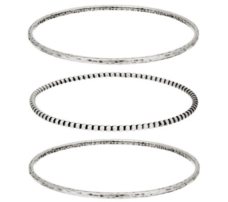 Or Paz Sterling Silver Set of 3 Bangles 24.0g