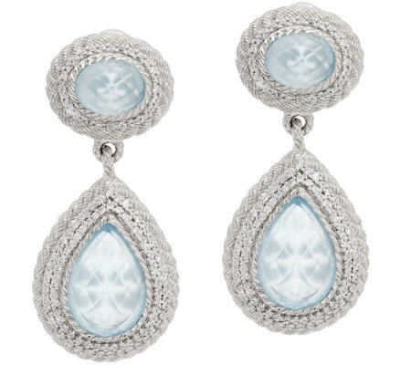 """As Is"" Judith Ripka Sterling & Diamonique Frost Blue Topaz Earrings"