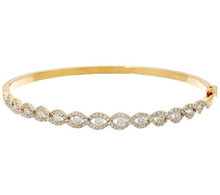 """As Is"" Twist Design Large Diamond Bangle, 14K, 1.55 cttw by Affinity"