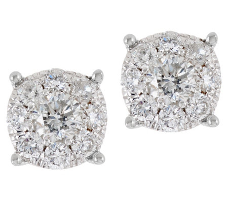 Round Diamond Cluster Stud Earrings, 14K, 3/4 cttw, by Affinity