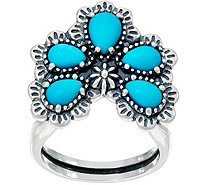 Sterling Silver Sleeping Beauty Turquoise Naja Ring by American West - J347782