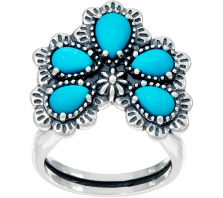 American West Sterling Silver Sleeping Beauty Turquoise Naja Ring