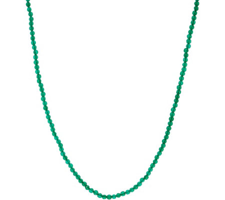 "JAI Sterling Silver 18"" Green Agate Bead Necklace"