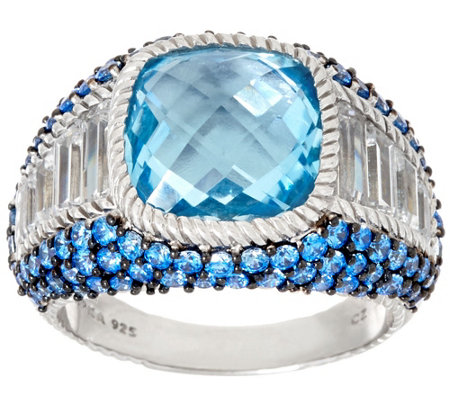 """As Is"" Judith Ripka Sterling Blue Topaz & Pave' Ring"