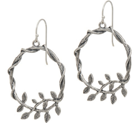 Or Paz Sterling Silver Leaf Accent Round Dangle Earrings