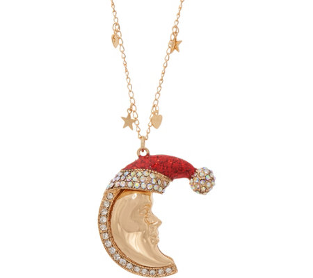 Kirks Folly Candy Cane New Moon Pendant Necklace