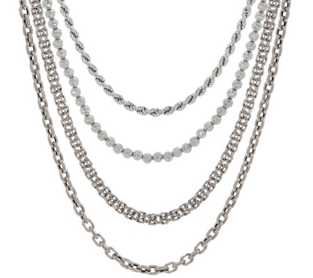 Italian Silver Adjustable Chain Necklace, 15.0g — QVC.com