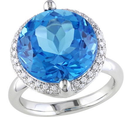 14K 12 ct Swiss Blue Topaz & 1/4 cttw Diamond Cocktail Ring