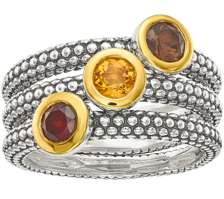 Set of 3 Sterling & 14K Gemstone Stack Rings