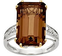 Sterling Silver & 14K Gold Whiskey Quartz And Diamond Ring - J378182