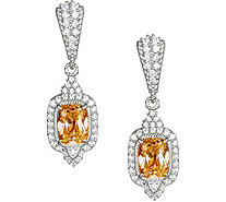Judith Ripka Sterling Citrine & Diamonique Earrings - J378882