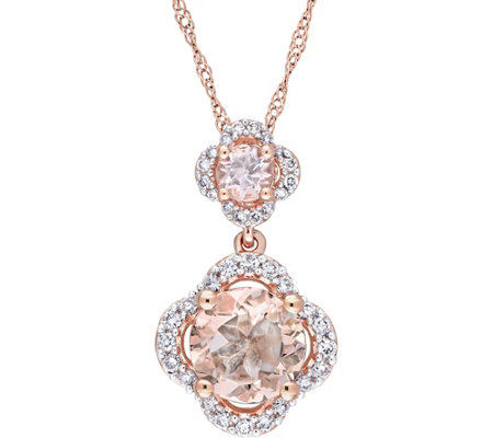 14K Gold 1.3 ct Morganite and 1/5 ct Diamond Tiered Pendant