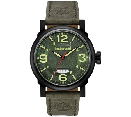Timberland Men's Stainless Black and Dark GreenLeather Watch