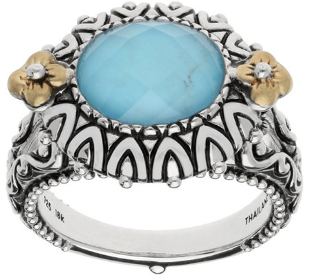 Barbara Bixby Sterling & 18K Turquoise DoubletRing