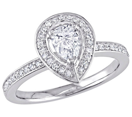 Affinity 14K Gold 6/10 cttw Pear-Shaped DiamondHalo Ring