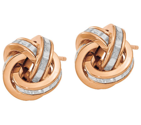 Italian Gold Glimmer Infused Knotted Earrings 14K