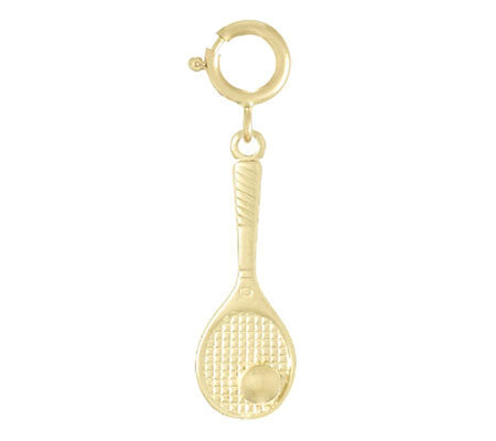 Tennis Racket with Ball Charm, 14k