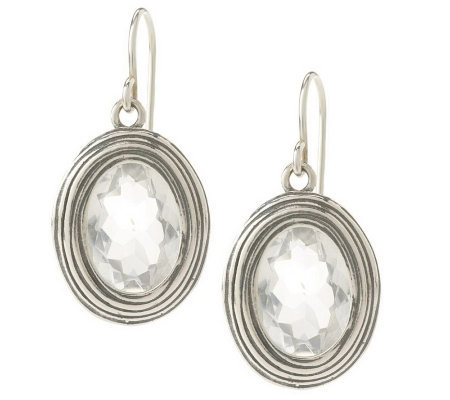 Or Paz Sterling 10.00cttwQuartz Oval Textured Dangle Earrings