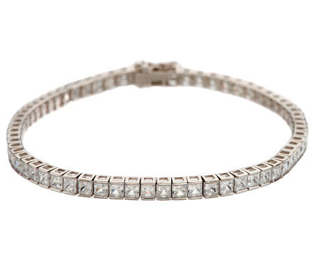 Diamonique Princess Cut Channel Set Tennis Bracelet Platinum Clad