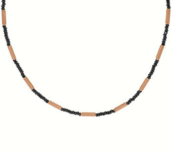 "Bronze 16"" Hematite & Bead Station Necklace by Bronzo Italia - J271283"