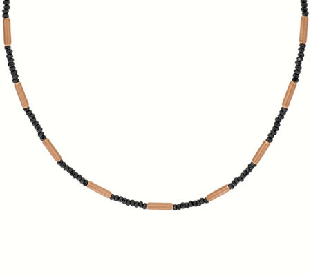 "Bronze 16"" Hematite & Bead Station Necklace by Bronzo Italia"