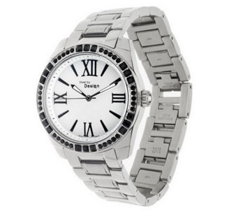 Stainless Steel Link Bracelet Watch with Crystal Accent - J279583
