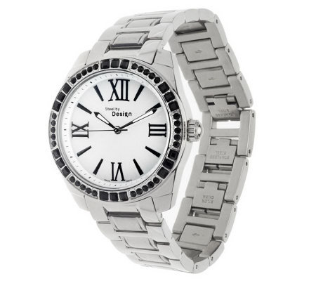 Stainless Steel Link Bracelet Watch with Crystal Accent