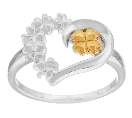 Solvar Sterling Silver & Gold Plated Heart Shamrock Ring