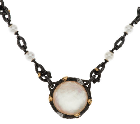 "Dweck Diamonds Black Fortuna Gemstone Doublet 18"" Toggle Necklace"
