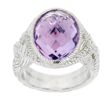 Judith Ripka Sterling 7.0 ct Amethyst & Diamonique Braided Ring