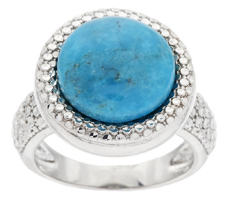 Round Turquoise Diamond Cut Sterling Bold Ring