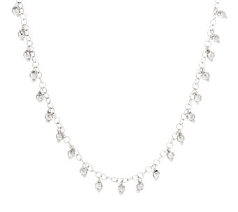 "Vicenza Silver Sterling 20"" Diamond Cut Bead Dangle Necklace, 9.3g - J293483"