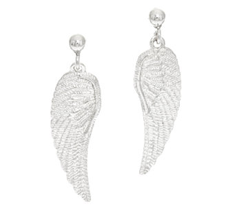 Vicenza Silver Sterling Textured Angel Wing Dangle Earrings - J293583