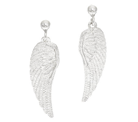 Vicenza Silver Sterling Textured Angel Wing Dangle Earrings