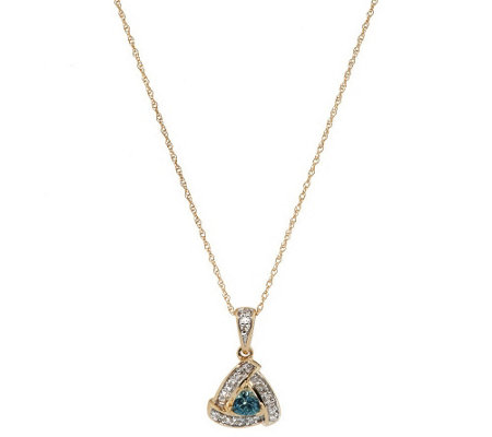 """As Is"" 0.25 ct Montana Sapphire Pendant on 18"" Chain, 14K"