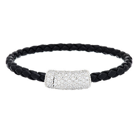 Judith Ripka 2.50 cttw Pave Diamonique Braided Station Bracelet