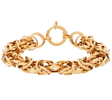 "14K Gold 6-3/4"" Polished Dimensional Byzantine Bracelet, 11.4g"