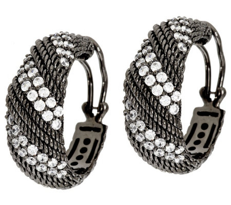 Judith Ripka Sterling & Diamonique Twisted Berge Hoop Earrings